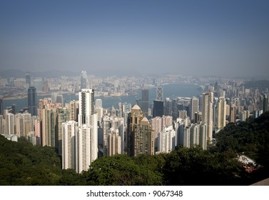 Hong Kong sky line on a blue day with limited pollution