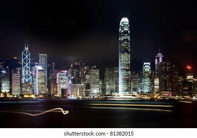 Hong Kong skyline city at night