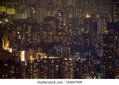 Hong Kong Skyline cityscape, density of building skyscraper in kowloon at night