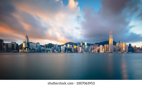 Hong Kong skyline in the morning over Victoria Harbour, Hong Kong China
