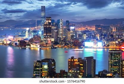 Hong Kong skyline at night from Braemar Hill Peak - Kowloon side