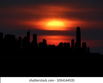 Hong Kong skyline silhouette with sunset illustration