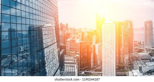Hong Kong skyline in sunrise