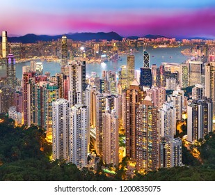 Hong Kong skyline at sunset. Night view from Victoria peak