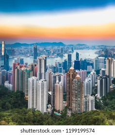 Hong Kong skyline at sunset. View from Victoria peak