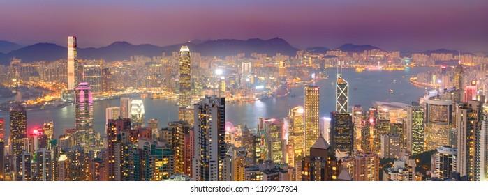 Hong Kong skyline at sunset. View from Victoria peak. Panorama