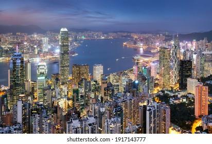 Hong Kong skyline from Victoria peak at night, China
