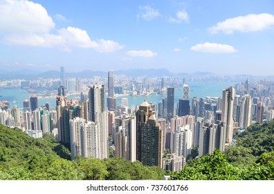 Hong Kong skyline at the Victoria peak in a day of bright blue sky background