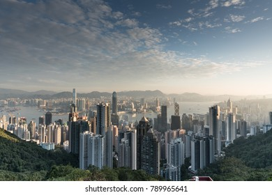 Hong Kong Skyline from victoria peak in the morning