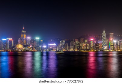 Hong Kong skyline view from kowloon side,colorful night life,cityscape at night