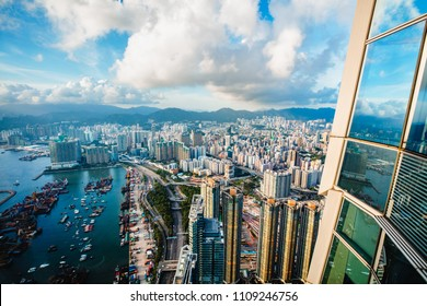 Hong Kong skyline view from Sky 100 observation deck, Hong Kong China
