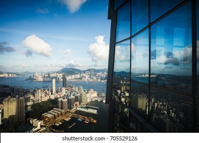 Hong Kong skyline view from Sky 100 observation deck, Hong Kong China