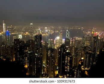 Hong Kong skyline view from Victoria Peak at night