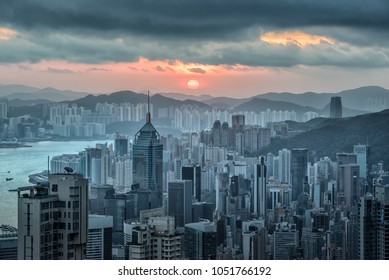 Hong Kong skyline view from Victoria peak at sunrise in the morning.