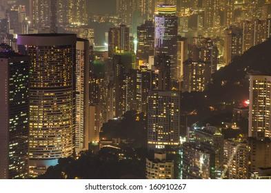 Hong Kong skyline. View from Victoria Peak