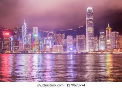 Hong Kong Skyline and Waterfront at Night