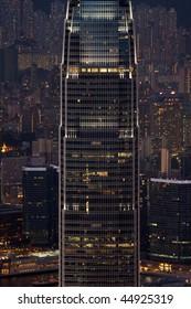 Hong kong skyscraper at night city background