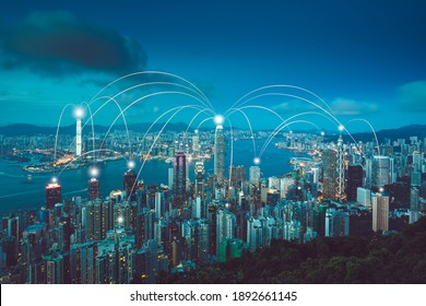 Hong Kong smart city with Network and Communication concept.