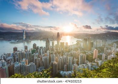 Hong Kong sunrise at peak