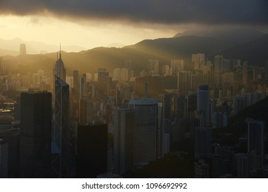 Hong kong sunrise scene from the peak