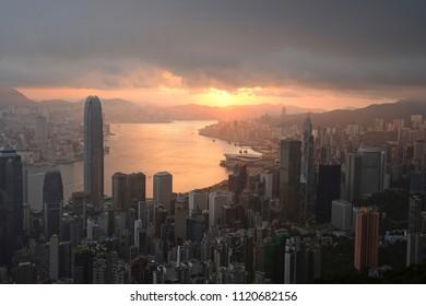 Hong kong sunrise scene from the peak