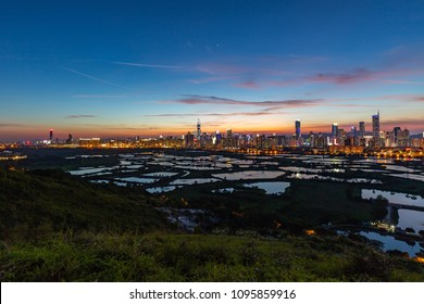 Hong Kong sunset along the Shenzhen border