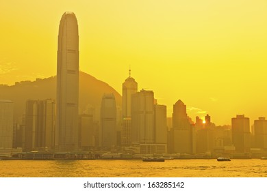 Hong Kong sunset at Victoria Harbor