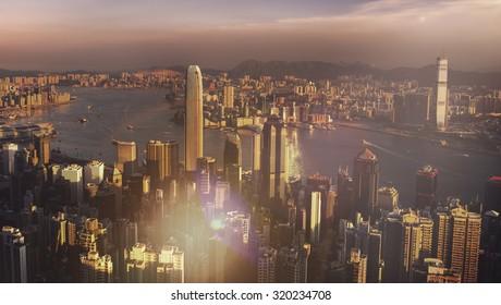 Hong Kong Sunset Victoria Harbor View Concept