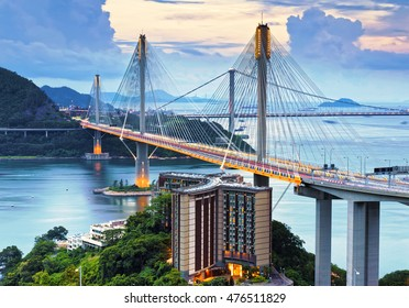 Hong kong traffic highway , Ting Kau Bridge