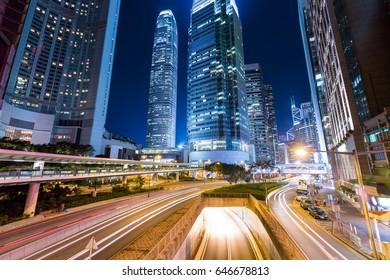 Hong Kong and traffic trail at night