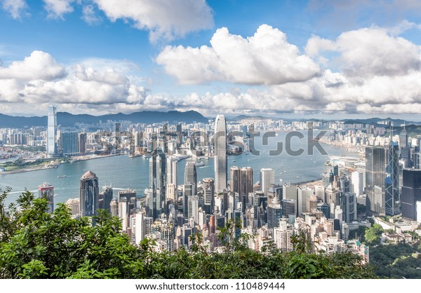 Hong Kong Victoria Harbor with blue sky
