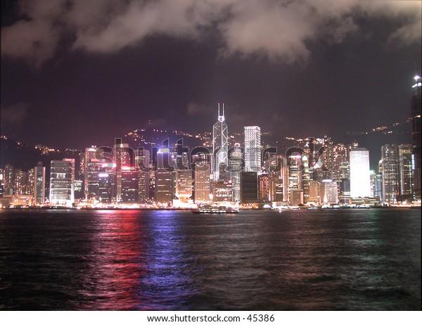 Hong Kong at Victoria Harbor.  Taken from Kowloon.