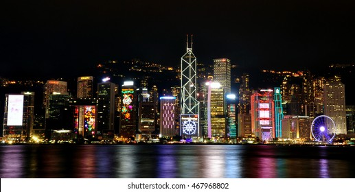 Hong Kong Victoria Harbour in Christmas night.
