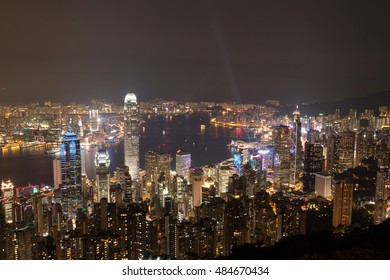 Hong Kong and Victoria Harbour at night view from Victoria Peak