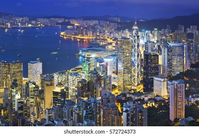 Hong Kong Victoria Harbour, view from the top of the peak at night.