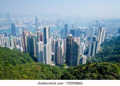 Hong Kong Victoria Peak overlooking the city