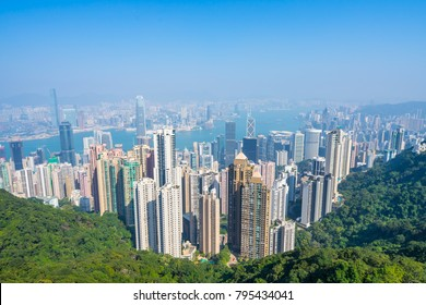 Hong Kong, view of the city and the bay from Victoria Peak