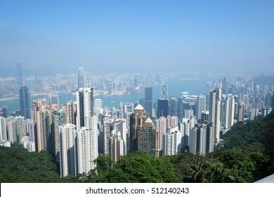 Hong Kong view from The Peak in Hong Kong.