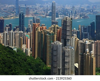 Hong Kong, View from the Victoria Peak. Day.