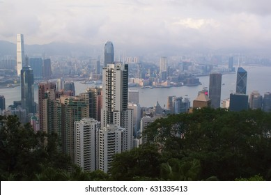Hong Kong. The view from Victoria peak. Modern industrial city. The centre of Asia.