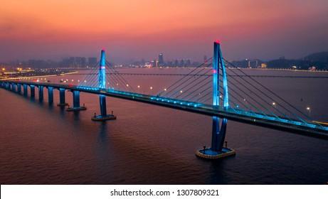 Hong Kong Zhuhai Macao Bridge sunset night view