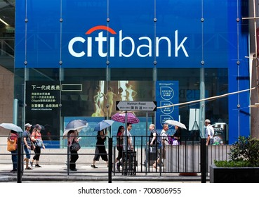 HONG KONG-AUGUST 14, 2017:  Citibank logo is seen in Kowloon area as people walk along the Nathan Road. Citibank, founded in 1812, has more than 2,600 branches in 19 countries