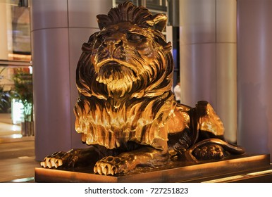 HONG KONG-AUGUST 14, 2017: HSBC Main building (Hong Kong) lion at night. HSBC Holdings plc is the fourth largest bank by total assets in the world.