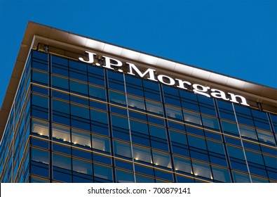 HONG KONG-AUGUST 14, 2017:  J.P. Morgan sign; J.P. Morgan, a global leader in financial services, has presence in 17 countries in Asia Pacific