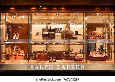HONG KONG-AUGUST 14, 2017:  Ralph Lauren store; Ralph Lauren Corporation was founded in 1967, presence worldwide and a revenue of 7.45 billion USD in 2014