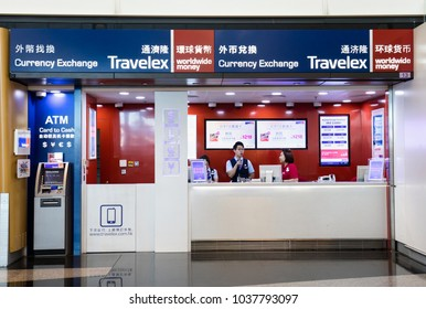 HONG KONG-AUGUST 14, 2017: Staff is seen at a Travelex shop; Travelex Group is a foreign exchange company founded in 1976 and is the largest foreign exchange bureau in the world