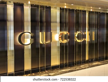 HONG KONG-AUGUST 15, 2017: Gucci store. Gucci, an Italian fashion and leather goods brand, was founded by Guccio Gucci in Florence in 1921. Gucci has about 425 stores worldwide