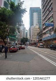 Hong Kong/China - August 12 2018: Wan Chai Road, Wan Chai district, Hong Kong. Wan Chai is a metropolitan area situated on the northern shore of Hong Kong Island, in Hong Kong.