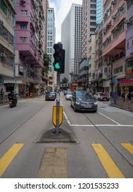 Hong Kong/China - August 12 2018: Queen's Road in Wan Chai, Hong Kong. Wan Chai is a metropolitan area situated on the northern shore of Hong Kong Island, in Hong Kong.