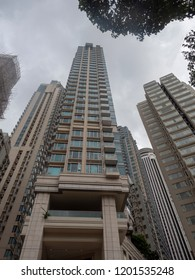 Hong Kong/China - August 12 2018: Johnston Road in Wan Chai, Hong Kong. Wan Chai is a metropolitan area situated on the northern shore of Hong Kong Island, in Hong Kong.